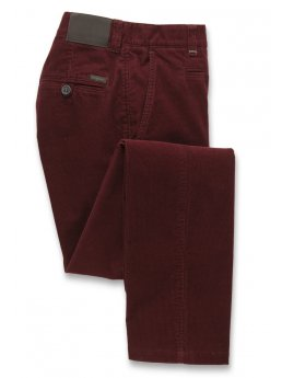 Pantalon velours côtelé jambe ajustée grenat Finningley