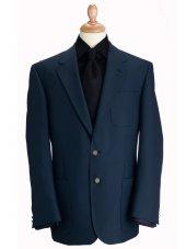 Blazer classique à poches en laine mélangée bleu marine Henley