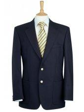 Blazer en pure laine bleu marine à poches plaquées Oxford
