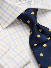 Chemise à carreaux jaune et bleu bouton de manchette