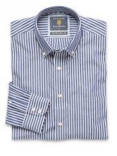 Chemise à col boutonné bleu marine à rayures Bengale coton