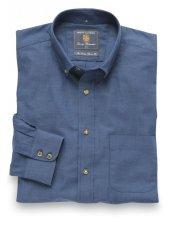 Chemise à col boutonné en sergé bleu marine coton brossé