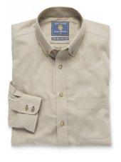 Chemise à col boutonné en sergé couleur pierre coton brossé
