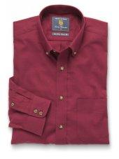 Chemise à col boutonné en sergé rouge coton brossé