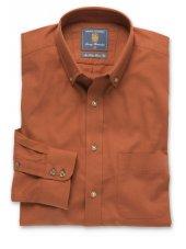 Chemise à col boutonné en sergé rouille coton brossé