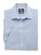 Chemise à manches courtes bleue unie coton / lin