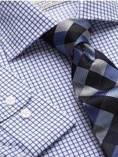 Chemise à petit carreaux bleus