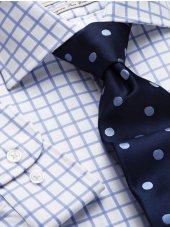 Chemise à petits carreaux bleus bouton de manchette