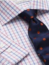 Chemise à petits carreaux rose et bleu bouton de manchette