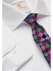 Chemise blanche à chervons 100% coton à manchette simple Easycare