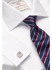 Chemise blanche à chevrons 100% coton à double manchette Easycare