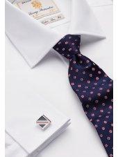 Chemise blanche ajustée 100% coton à double manchette Easycare