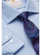 Chemise bleue à chervons 100% coton à manchette simple Easycare