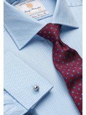 Chemise bleue à chevrons 100% coton à double manchette Easycare