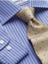 Chemise bleue à rayure marine et blanc bouton de manchette