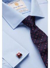 Chemise bleue ajustée 100% coton à double manchette Easycare