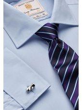 Chemise bleue popeline 100% coton à double manchette Easycare