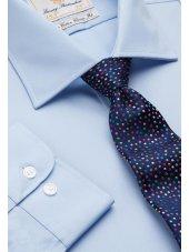 Chemise bleue popeline 100% coton à manchette simple Easycare
