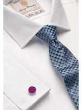 Chemise cintrée blanche en sergé royal 100% coton à double manchette Easycare