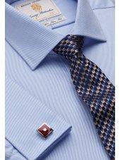 Chemise cintrée bleue en sergé royal 100% coton à double manchette Easycare