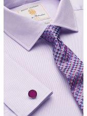 Chemise cintrée lilas en sergé royal 100% coton à double manchette Easycare