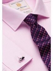 Chemise cintrée rose en sergé royal 100% coton à double manchette Easycare