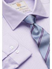 Chemise lilas en sergé royal 100% coton à manchette simple Easycare