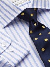Chemise rayure bleue soutenu bouton de manchette