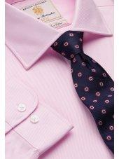 Chemise rose en sergé royal 100% coton à manchette simple Easycare