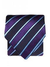 Cravate 100% soie à rayures bleu marine, violet et bleu