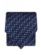 Cravate 100% soie bleu marine à carré bleu et argenté