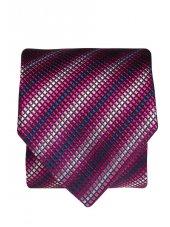 Cravate 100% soie bleu marine à carré diagonal violet, lilas et argent