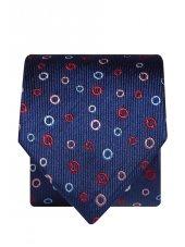 Cravate 100% soie bleu marine à cercles rouge, lilas et bleu