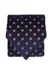 Cravate 100% soie bleu marine à fleur d'argent