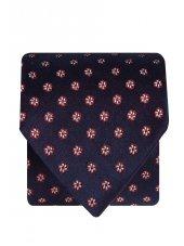 Cravate 100% soie bleu marine à fleur rouge