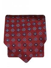 Cravate 100% soie sang de bœuf à motif bleu marine et bleu