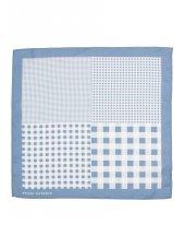 Mouchoir de poche 100% soie à motif bleu