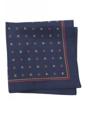 Mouchoir de poche 100% soie bleu marine à carré rouge et jaune