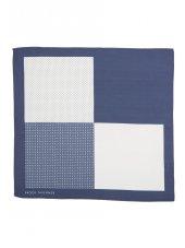 Mouchoir de poche 100% soie bleu marine à motif
