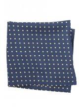 Mouchoir de poche 100% soie bleu marine à pois jaunes