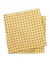 Mouchoir de poche 100% soie jaune à pois noirs