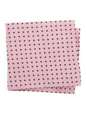 Mouchoir de poche 100% soie rose à pois bleu marine