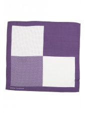 Mouchoir de poche 100% soie violet à motif