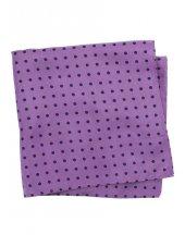 Mouchoir de poche 100% soie violet à pois bleu noir