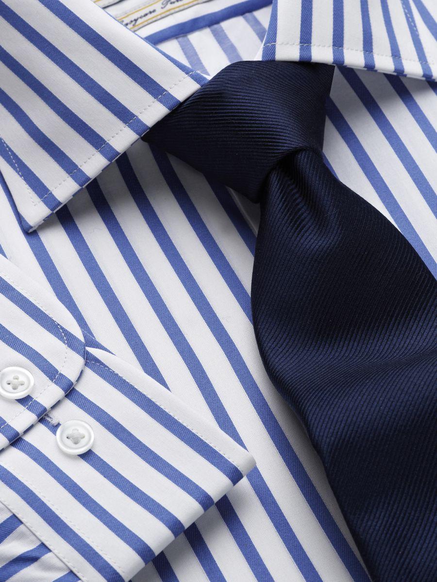 my costard company chemise rayure bleue bouton de manchette. Black Bedroom Furniture Sets. Home Design Ideas